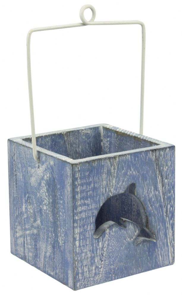 Dolphin Candle Holder Wooden Box with Handle